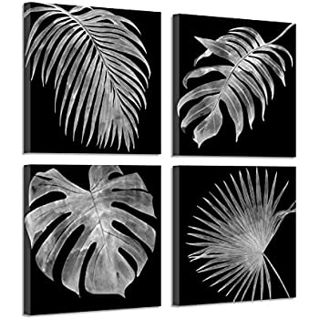 a38df15d23 Canvas Botanical acicular Leaf Pictures: Tropical Palm Leaves Black & White  Contrast Paintings, 4