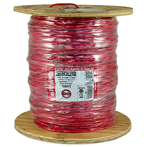 Vertical Cable Fire Alarm Cable, 14 AWG, 2 Conductor, Solid, Unshielded, FPLP (Plenum), 1000ft Spool, Red - Made in USA