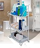 Bathroom Shelf Floor Bathroom Shelf Towel Shelf Shelf Shelf Magazine Stand (Color : White, Size : 322177cm)