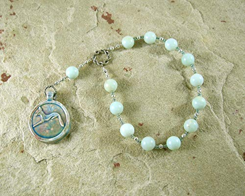Anubis Pocket Prayer Beads in Amazonite: Egyptian God of the Underworld and the Afterlife, Guardian of the Dead
