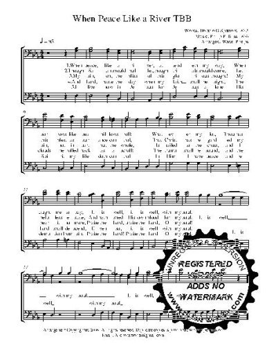 Peace like a River 25 copies A capella  TBB Choral Sheet Music! Acappella music arranged for 3 part  male choir or trio. 25 copies of the song included