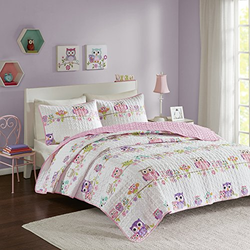 Comfort Spaces Howdy Hoots 3 Piece Quilt Coverlet Bedspread Owl Print Ultra Soft Hypoallergenic Kids Teens Girls Bedding Set, Full/Queen, Pink/White