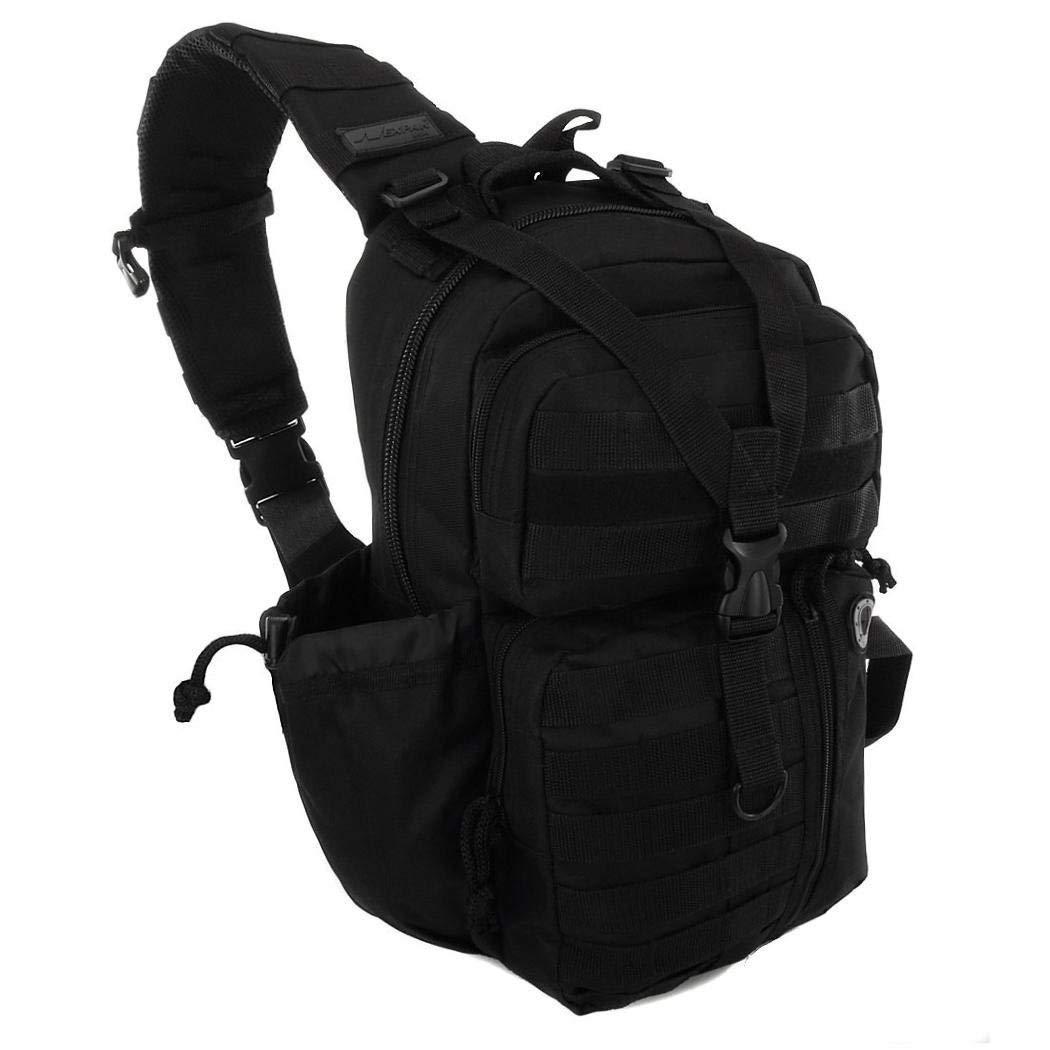 Mens Black Tactical Gear Molle Hydration Ready Sling Shoulder Backpack Daypack Bag [並行輸入品] B07R4TT73K