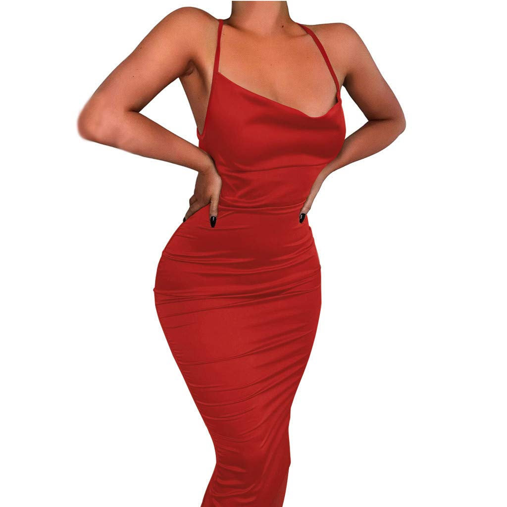 Euone Dress Clearance, Woman Club Sexy Dress Clearance Bandage Backless Sling Sundress Summer Woman Formal Evening Swimming Pool Party Bodycon Dresses Women Solid Slash neck Mid Dress