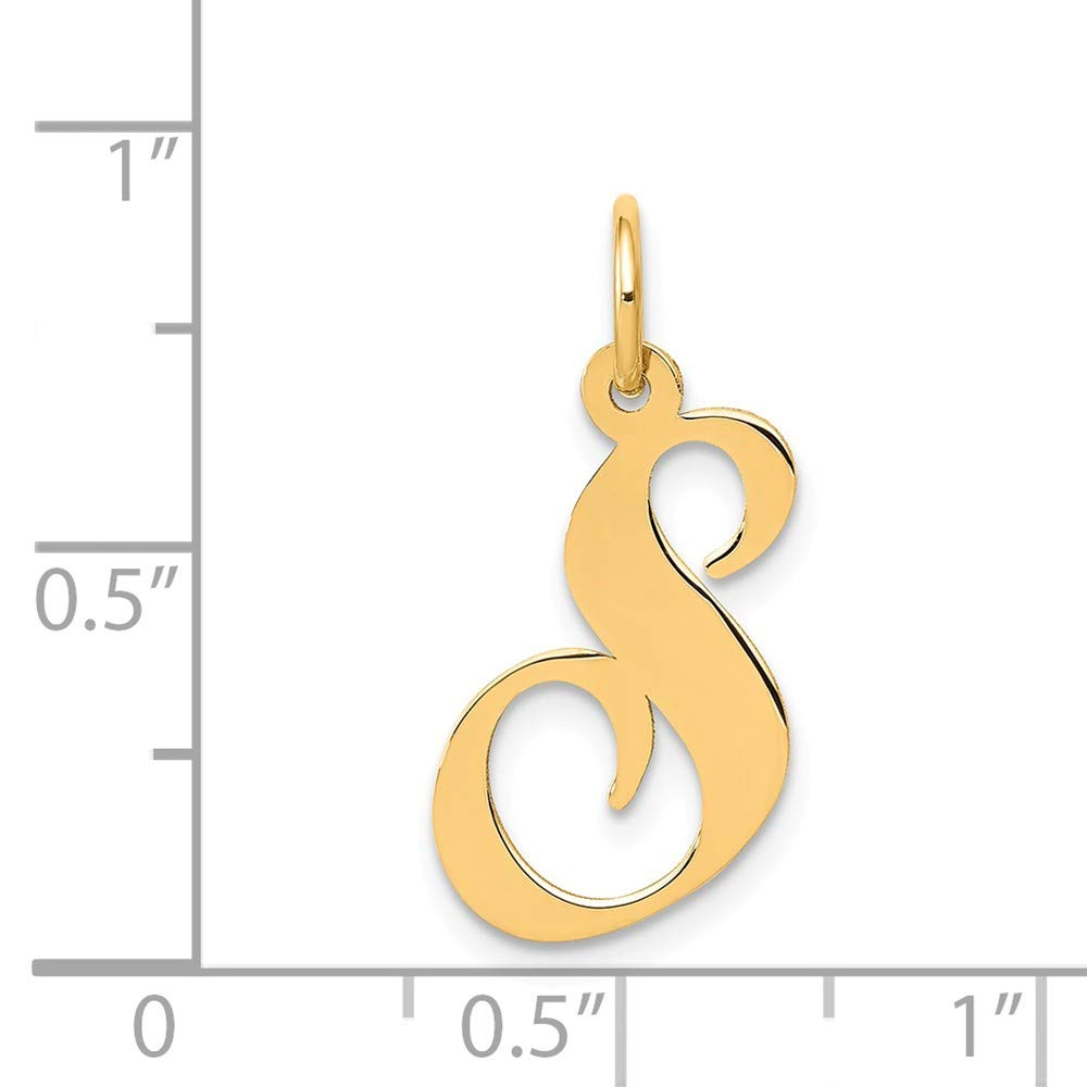 JewelrySuperMart Collection 14k Gold Cursive Script Initial Pendant