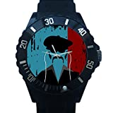 FCB034	Funny Mustache And Hat Picture Black Plastic Watch