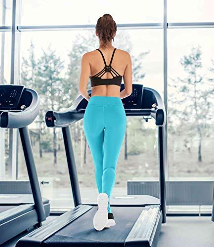 IUGA High Waist Yoga Pants Shorts with Pockets Tummy Control Workout Yoga Shorts Side Pockets (7840 Light Blue, Small) by IUGA (Image #5)