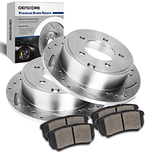 CENCORE  Rear Left & Right Brake Disc Kit Cross Drilled & Slotted 2 Brake Rotors Plates & 4 Ceramic Brake Pads Compatible with 2007-2010 Chrysler Sebring Sedan 2008-2010 Chrysler Sebring Convertible