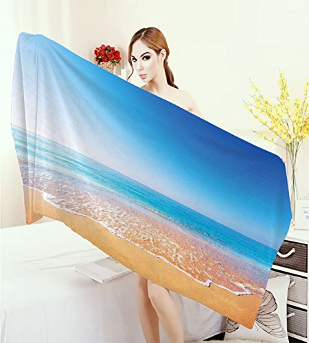 homecoco Ocean Quick-Dry Towels Golden Beach and Tropical Sea Scenery with Endless Sky Summer Sun and Peace Print Wrap Towels Cream Blue -