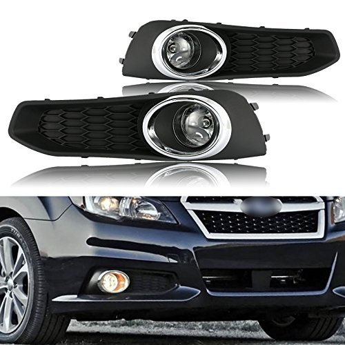 cciyu Clear Lens OE Replacement Fog Lights Assembly Front Bumper Lamps Driver and Passenger Side For 2013-2014 Subaru Legacy (Oe Replacement Fog Lamp)