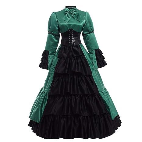 GRACEART Victoriano Gótico Disfraz de Reina Medieval Vestido de Fiesta Vestido de cóctel Vintage Vestido de Fiesta (S, Verde)