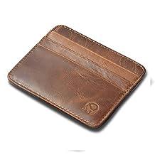 RFID Blocking Leather Slim Minimalist Front Pocket Wallets Thin Card Holder