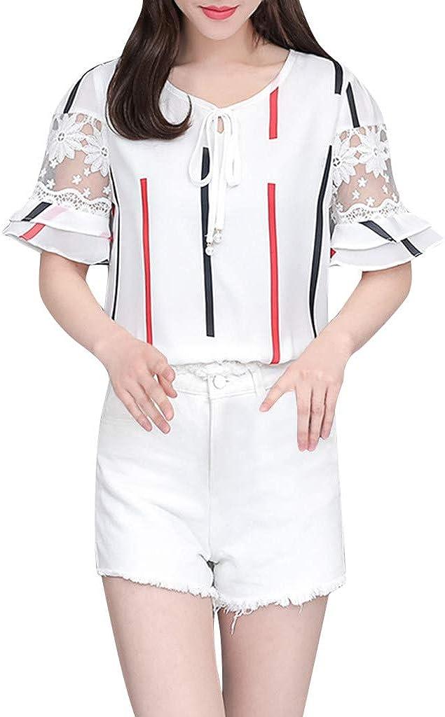 Blusa Mujer Manga Corta Camisas Casuales con Volantes O-Cuello Imprimir Suelta Verano Camiseta para Mujer Top Blusa Elegante Wyxhkj: Amazon.es: Ropa y accesorios