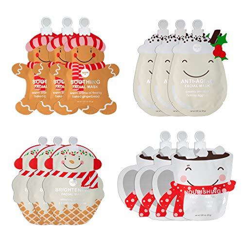 SpaLife Holiday Treats Facial Masks Christmas Masks 12 pack Assorted