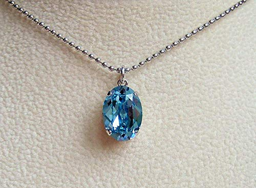 - Aqua Blue Oval Made with Swarovski Crystal Pendant Simulated Aquamarine March Birthstone 18 to 20 Inch Stainless Steel Simple Ball Chain Necklace Gift Idea
