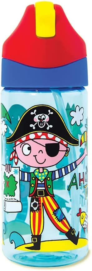 Rachel Ellen Designs – Botella de Agua para niños, diseño de Pirata – Capitán Pilchard – Ahoy There Matey Bicicleta de Gimnasio Escolar para niños, sin BPA