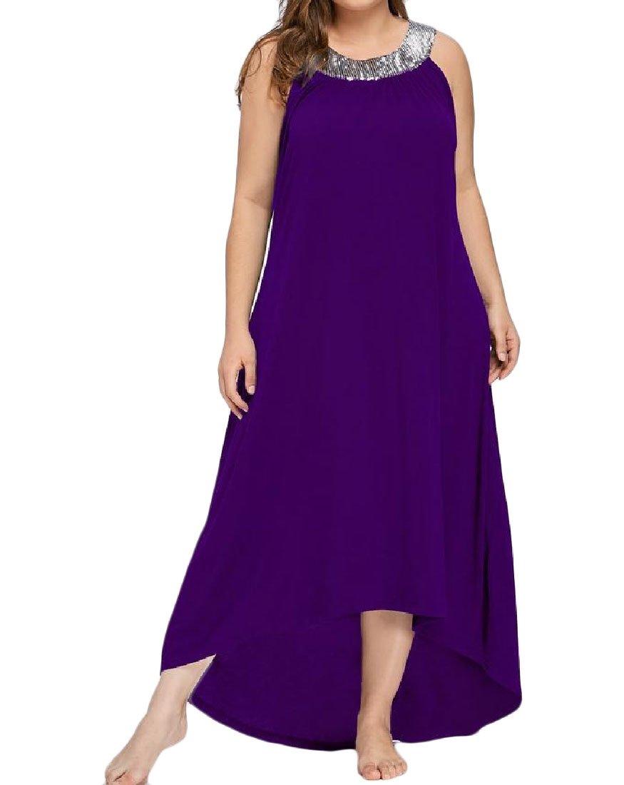 Coolred-Women Unbalanced Big Pendulum Sequin Plus Size Solid Cocktail Long Dress Purple 2XL