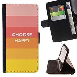 BullDog Case - FOR/HTC One M9 / - / choose happy slogan quote hippie positive /- Monedero de cuero de la PU Llevar cubierta de la caja con el ID Credit Card Slots Flip funda de cuer