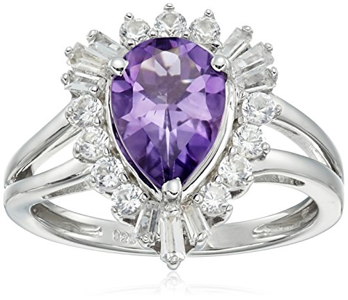 Sterling Silver Pear Shape Amethyst with Round Baguette Created White Sapphire Ring, Size7