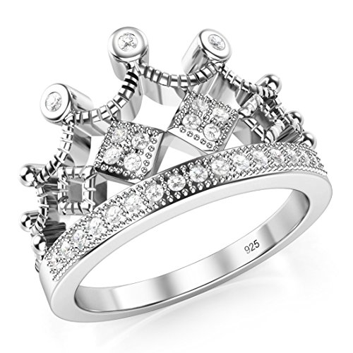 Metal Factory 925 Sterling Silver Cubic Zirconia Princess Crown Tiara CZ Band Ring