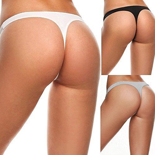 237011e94 Aimado Women s Breathable Thong Cotton Thong Panties Pack Of 3 (Black Gray  White