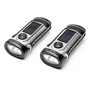 The Friendly Swede Solar Charge and Waterproof Hand Crank LED Flashlight (2-PACK) (Silver)