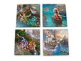 Disney Peter Pan Glass Coaster Set Decor - Thomas