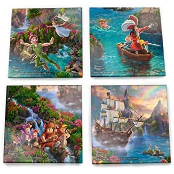 Disney Peter Pan Glass Coaster Set Decor - Thomas Kinkade - Comes with stylish modern wooden holder