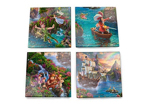 Disney Peter Pan Glass Coaster Set Decor - Thomas Kinkade - Comes with stylish modern wooden holder ()