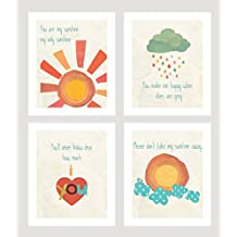 "You Are My Sunshine Collection, Four 5""x7"" Wall Art Prints, Kid's Room Decor, Children's Wall Art, Gender Neutral"