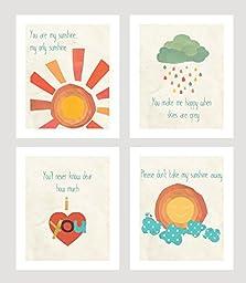 You Are My Sunshine Print Collection (Set of Four 5x7 Wall Art Prints), Nursery Decor, Kid\'s Room Decor, Gender Neutral Nursery Decor, Baby Room, Playroom Decor, Nursery Rhyme Kid\'s Wall Art