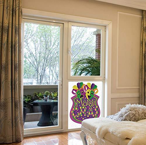 YOLIYANA Stained Glass Window Film,Mardi Gras,for Bathroom Shower Door Heat Cotrol Anti UV,Comedy and Tragedy Masks with Festive Mardi Gras,17''x24'' -