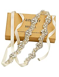 Yanstar Silver Crystal Rhinestone Wedding Bridal Belt With Cream Sash For Wedding Bridesmaid Dress(Silver/Ivory)