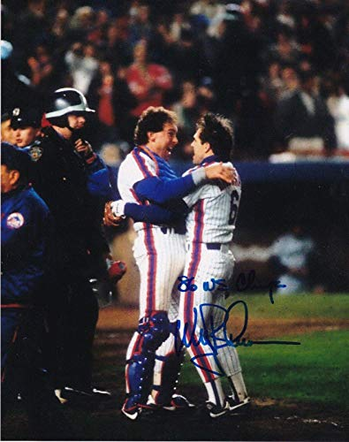 Gary Carter Signed Photograph - WALLY BACKMAN W 1986 WS CHAMPS 8x10 - Autographed MLB Photos