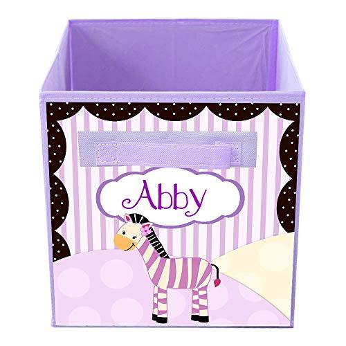 Toad and Lily Plum Zebra Girls Fabric Bin Elephant Giraffe Monkey Personalized Bedroom Nursery Organizer for Toys or Clothing FB0031