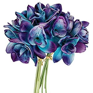 Lily Garden Artificial Flowers Purple Turquoise Orchid Stem Real Touch Flowers Set of 12 Stems 5