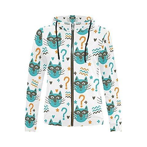 InterestPrint funny cats in masks Print Full Zip Hoodie Sweatshirt for Women - Cat Womens Zip Hoodie