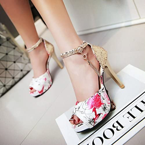 ZHZNVX New fish mouth ultra high heel buckle sandals fine with floral bag with womens shoes