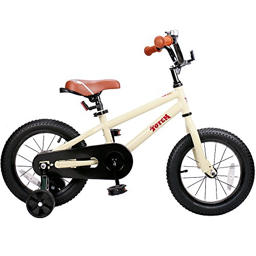 JOYSTAR 14 Inch Kids Bike for 3-5 Years Boys & Girls, Unisex Child Bicycle with Training Wheel, Beige, 85% Assembled
