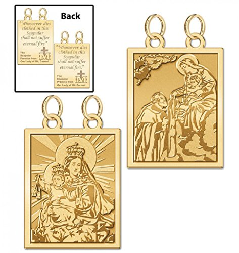 Double Sided Scapular Religious Medals Set - 2/3 Inch X 3/4 Inch in Solid 14K Yellow Gold 14k Yellow Gold Scapular Medal