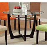 Dining Table w/Beleved Glass Table Top in Deep Espresso Base by Poundex