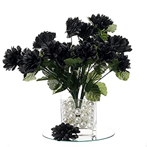 BalsaCircle 84 Black Silk Chrysanthemums - 12 Bushes - Artificial Flowers Wedding Party Centerpieces Arrangements Bouquets Supplies 35