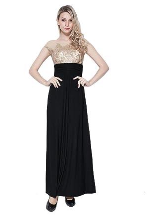 Beauty-Emily Maxi Pailletten Transparent O-Ansatz Kurzarm A-Linie  Abendkleider  Amazon.de  Bekleidung da5b60080f