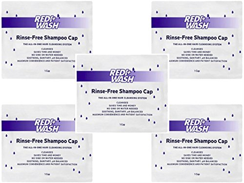 (Pack of 5) No Rinse Shampoo Caps - Redi+Wash Rinse-Free Shampoo Cap (Redi Wash)