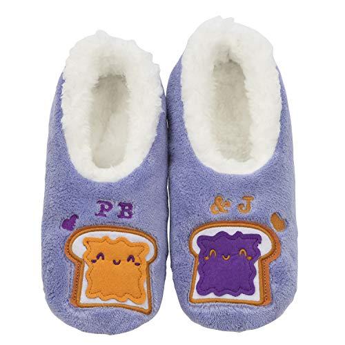 Snoozies Womens Classic Splitz Applique Slipper Socks | PB&J | X-Large