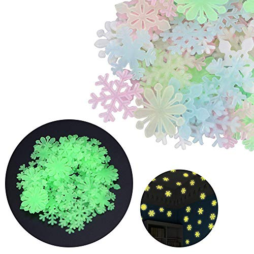 Mlide Fluorescent Wall Sticker, 50PC Kids Bedroom Fluorescent Glow in The Dark Snowflake Wall Stickers(Multicolor,3x3cm/1.19