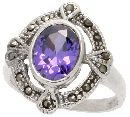 - Sterling Silver Marcasite Oval Cut Out Ring, w/ Oval Cut Amethyst CZ, 15/16