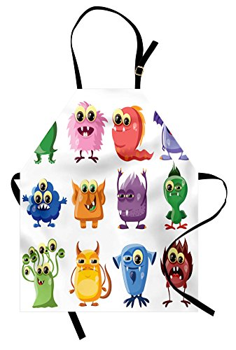 Ambesonne Funny Apron, Animated Bacteria Aliens Theme Germ Whimsical Cartoon Monsters Humor Faces Graphic, Unisex Kitchen Bib Apron with Adjustable Neck for Cooking Baking Gardening, Multicolor