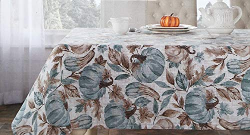 The Prairie Fabric Autumn Tablecloth Fall Autumn Leaves Squash Pattern in Shades of Blue Brown Taupe on White Table Cover - Harvest Bounty, 60 Inches by 84 Inches (Squash Decorative Autumn)