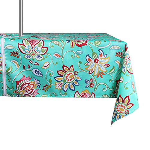 - ColorBird Modern Bosemia Flower Outdoor Tablecloth Waterproof Spillproof Polyester Fabric Table Cover with Zipper Umbrella Hole for Patio Garden Tabletop Decor (60 x 84 Inch, Zippered, Green)
